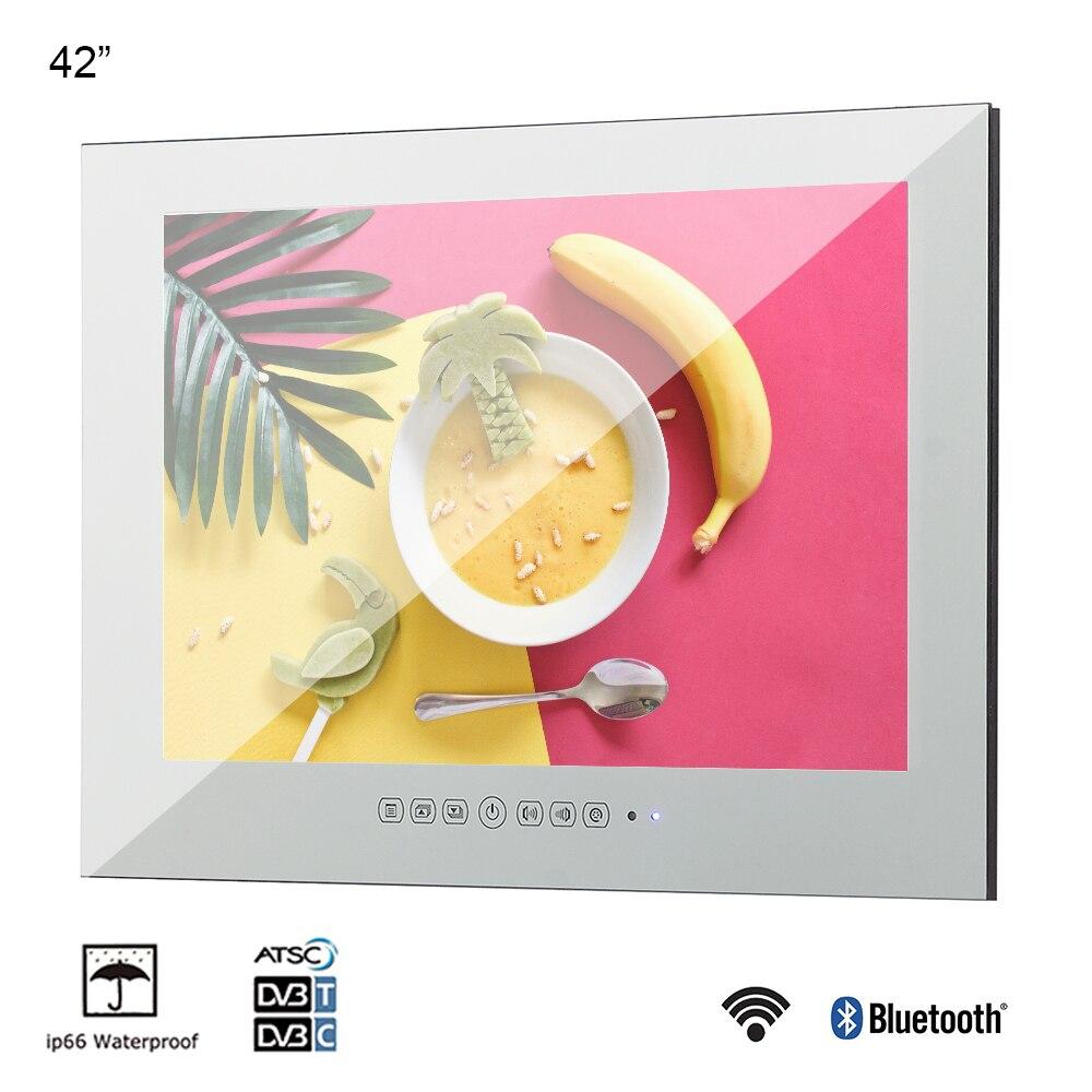 Souria 42 pulgadas Monitor montado en la pared Android LED para piscina TV ducha Interior a prueba de agua Televisión (negro/espejo)