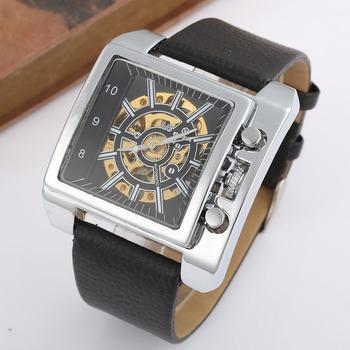 Moda kwadratowy zegarek mężczyźni duże zegarki na rękę skórzany pasek automatyczne self-wiatr mechaniczne zegarki na rękę mężczyźni zegarki szkieletowe Reloj Hombre tanie i dobre opinie T-GOER Nie wodoodporne CN (pochodzenie) Klamra Moda casual 26cm Stop Świetliste Dłonie 182497 Plac 28mm 14mm Hardlex
