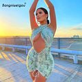 Бандажное платье Bangniweigou с алмазным вырезом и животным принтом, женское летнее сексуальное Клубное платье с принтом змеиной кожи, мини-плать...