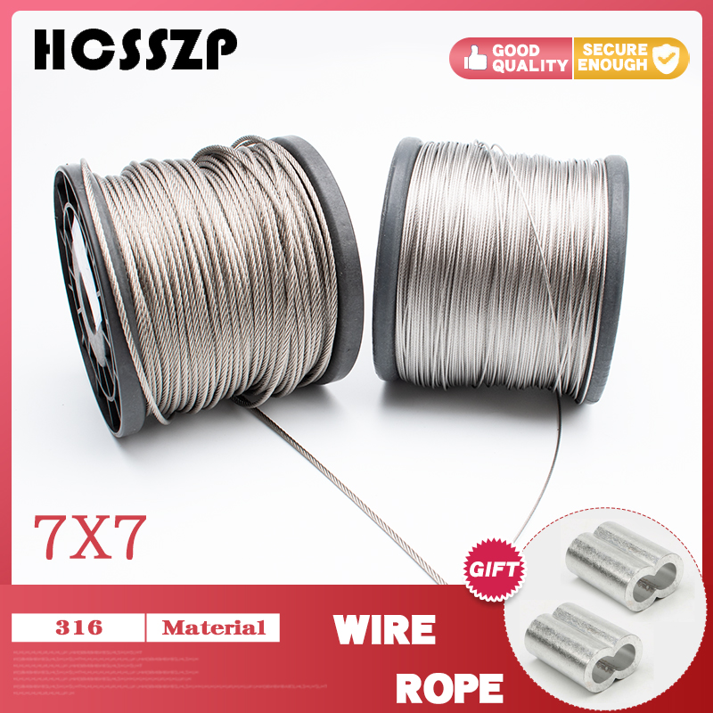 5 Meter Marine Grade T316 Stainless Steel Flexible Wire Rope Deck Cable Railing Kit 7x7 Clothesline Diameter 1mm 1.2mm 1.5mm 2mm