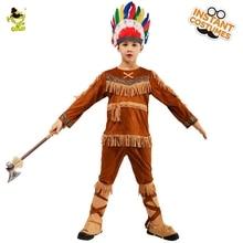 Детские индийские наряды для косплея наряды для мальчиков индейцев ролевая игра Хэллоуин Пурим костюм для ребенка