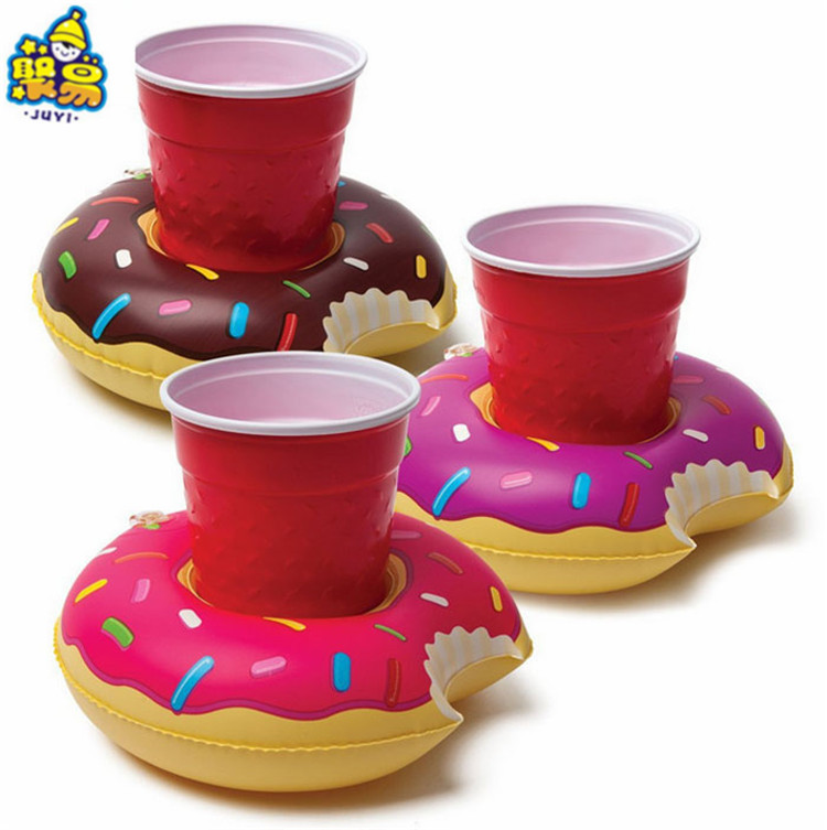 Manufacturers Direct Selling PVC Water Supplies Inflatable Doughnut Beach Inflatable Floating Beverage Cup Saucer Currently Avai