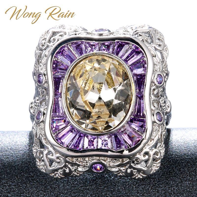 Wong Rain Vintage 925 Sterling Silver Citrine Amethyst Gemstone Wedding Engagement Ring Fine Jewelry Wholesale Drop Shipping