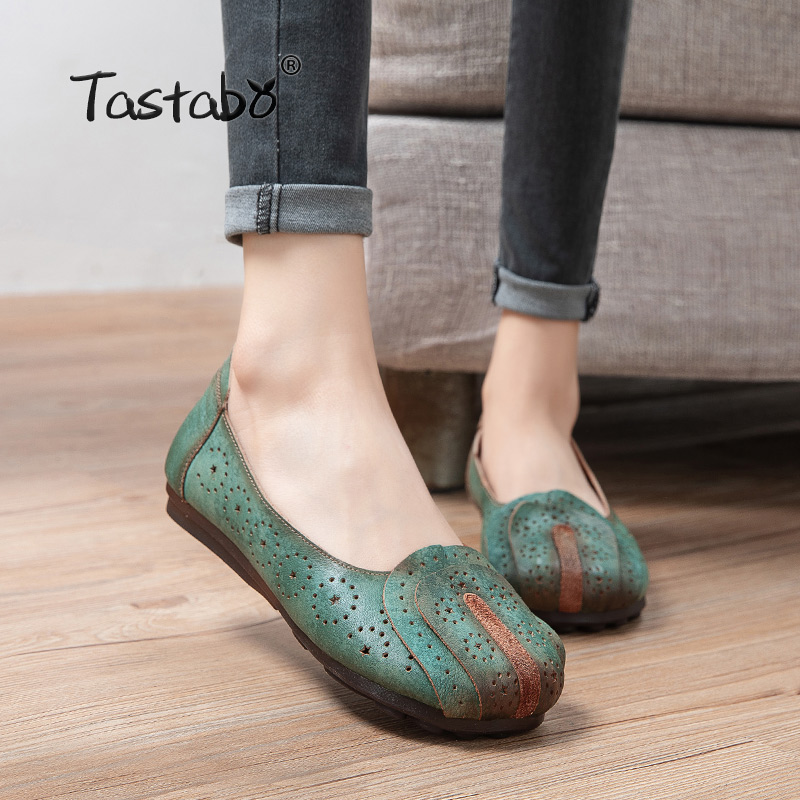 Tastabo Genuine Leather Handmade Women Shoes Retro Casual Shoes Green Creamy-white S2513 Asakuchi Soft-soled Mom Shoes Flat