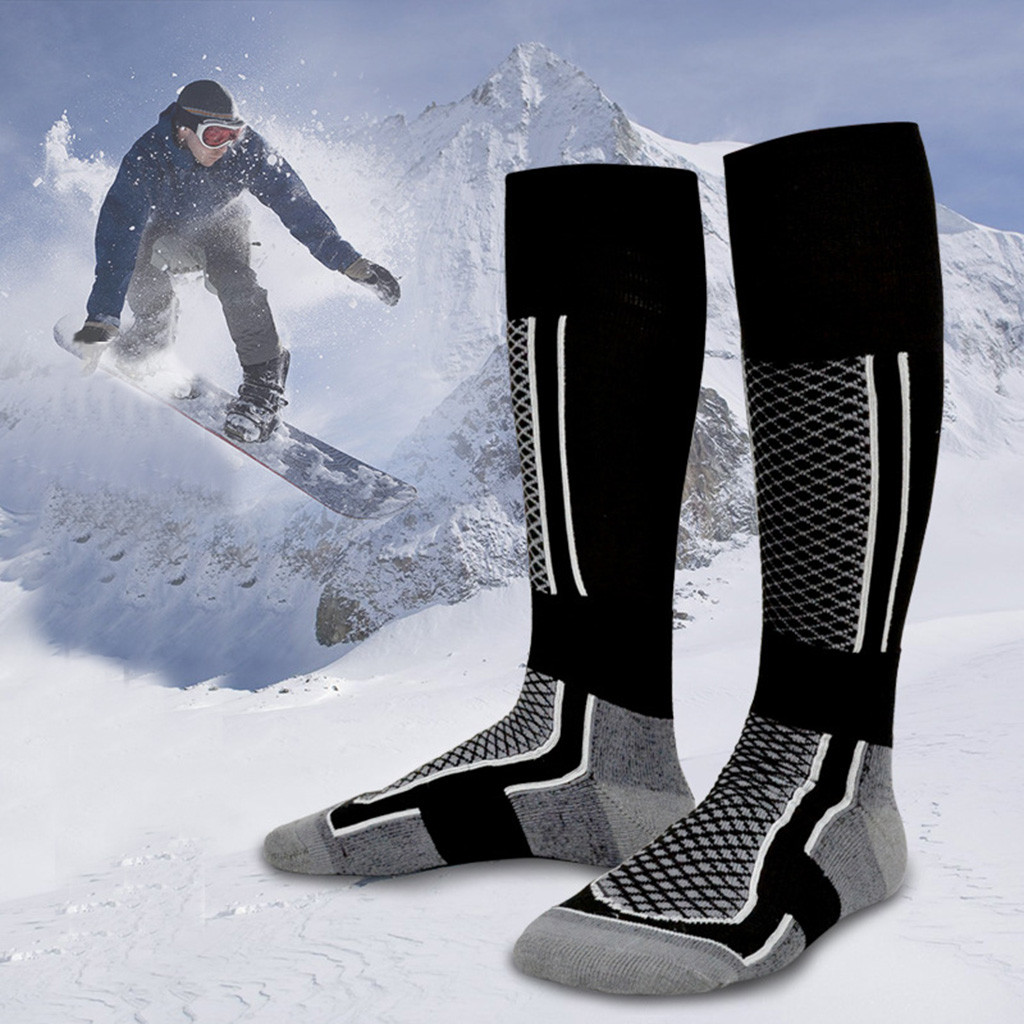 Mens Women Quality Hike Walking Long Crew Boots Socks Wear-resistant Warm Skiing Hold The Hiking Socks Compression Band