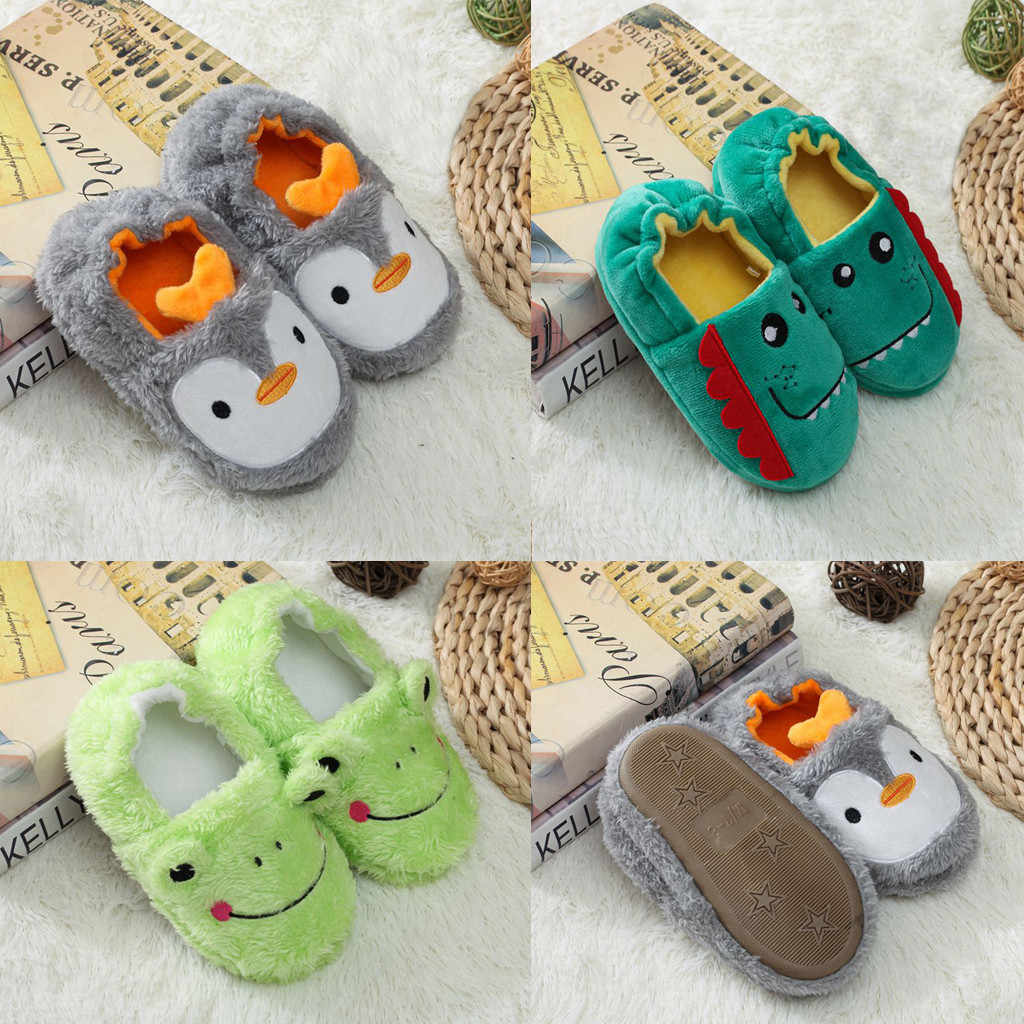 Toddler Cartoon Slippers Shoes 2019 New Kids Baby Print Winter Warm Shoes Infant Boys Girls Soft-Soled Slippers sapato infantil