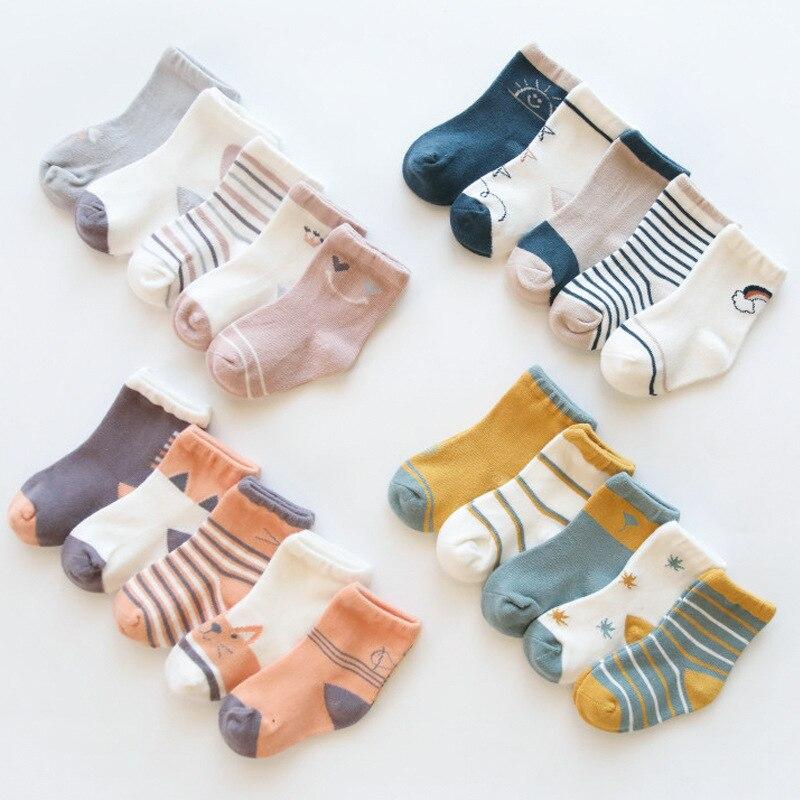 HappyFlute 5pair Socks Set Casual Winter Autumn 0-8years Toddler Unisex Newborn Baby Socks Cheap Stuff