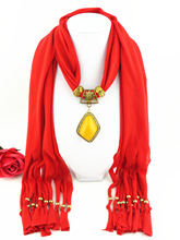 Egg yolk flow-in-one polyester penant scarf honey-wax alloy diamond-embedded pendant female