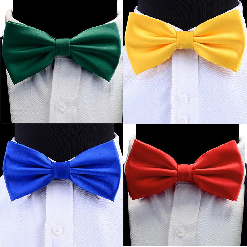 Ricnais Men's Pre-tied Bow Tie Yellow Bule Red Colorful Solid Bowtie Suit Business Wedding Party Waterproof Bow TieS Accessories