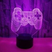 Lámpara de escritorio 3D con forma de Gamepad, luz LED nocturna, cambio de Color, creativa, 35ED