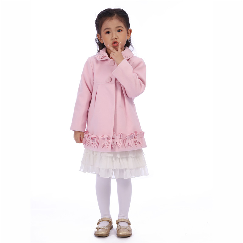 Autumn Pink Girls Coat Winter Warm Spring Clothes Outwear Kids Children Jackets Girl Red Flower Casual Coat