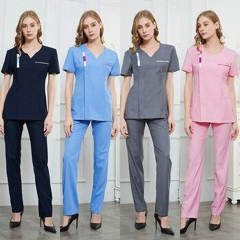 Los médicos usan trajes de verano, mangas cortas, trajes de belleza para enfermeras, ropa de trabajo dental, vestidos blancos, lavado de manos