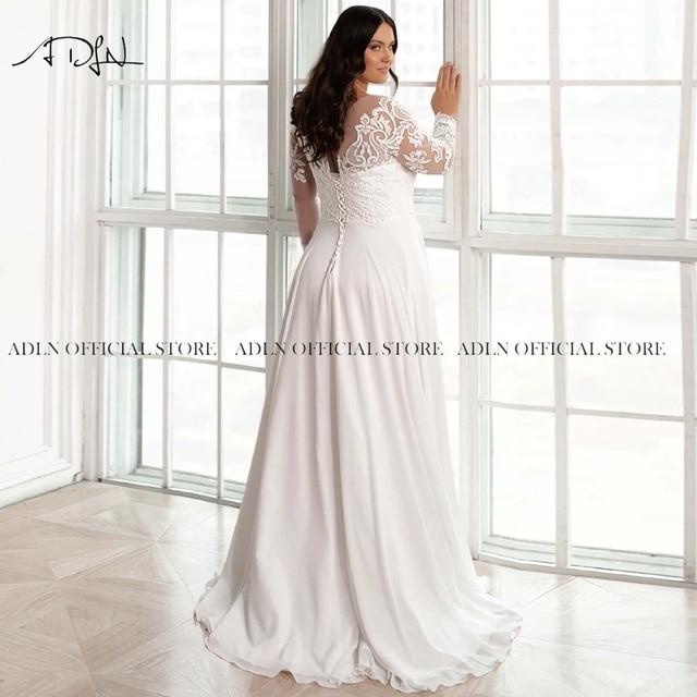 Elegant Scoop Long Sleeves Plus Size Bridal Gown Appliqued Chiffon Beach Wedding Dress with Sleeves Vestido de Novia 2021 4