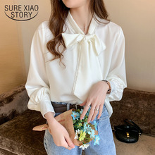 Loose Korean Tops 2021 Spring Satin Chiffon Blouse Women Fashion Blue Long Sleeve Shirt White Office Lady Clothes with Bow 10691