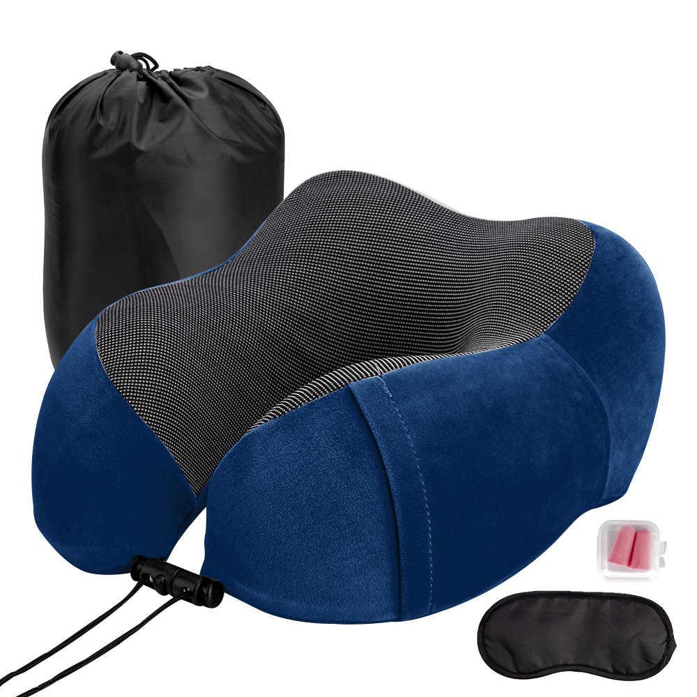 U 字型の旅行枕ソフト遅いリバウンド首枕固体首頚椎ヘルスケア枕寝具旅行枕首マッサージ