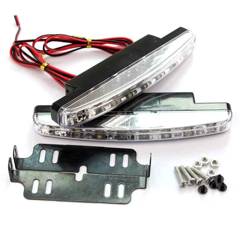 Onever Nieuwe Hot 1 Pc 6000K Auto Led Daytime Running Light Driving 8LED Drl Auto Fog Lamp Waterdicht Wit licht Dc 12V
