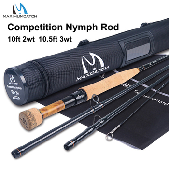 цена на Maximumcatch 2/3WT Competition InTouch Nymph Fly Rod IM12/40T+46T Carbon Fiber 10/10.5FT Moderate Euro Nymphing Fly Fishing Rod