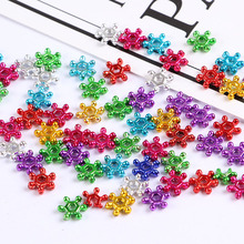 500PCS Six-petal Flower Acrylic Beads DIY ABS Material Mixed Color Snowflake Bead Necklace Bracelet Jewelry Accessories 7X8mm