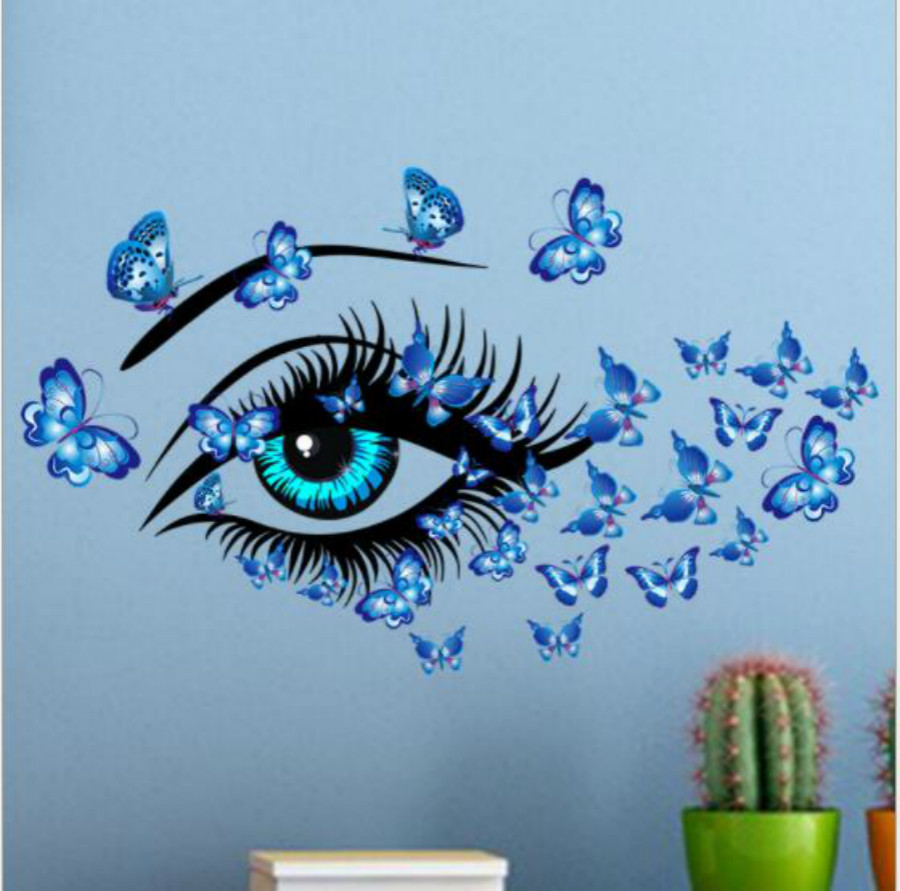 Large <font><b>Sexy</b></font> Girl Eyes Butterfly <font><b>Wall</b></font> <font><b>Stickers</b></font> for Living Bedroom Girls Room Decor Decoration Home Decals mural <font><b>3D</b></font> <font><b>Stickers</b></font> image