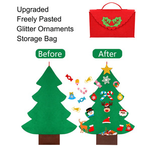 DIY Toddler Felt Christmas Tree for Freely Pasted Kids Toys Gifts Christmas Tree with Glitter Bag Ornaments Wall Hanging Decor(China)