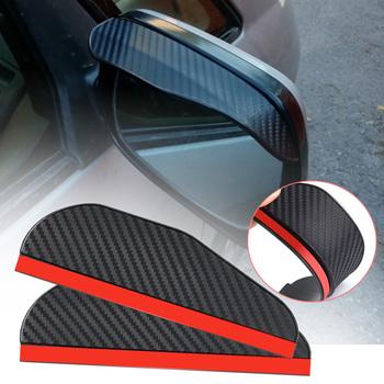 2 sztuka para czarny przezroczysty uniwersalny Auto części lusterko wsteczne Protector osłona przeciwdeszczowa naklejka na samochodowe lusterko wsteczne brwi osłona przeciwdeszczowa tanie i dobre opinie JDM RACING CN (pochodzenie) PVC black transparent 18 2cm x 5 4cm coming with 3M Adhesive mirror style of various cars