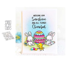 Rabbit Easter Metal Cutting Dies and Clear Stamps for DIY Scrapbooking Card Dies Cut Stencils Paper Crafts Photo Album Decor beautiful flowers metal cutting dies and clear stamps for diy scrapbooking card new dies cut stencils paper crafts photo album