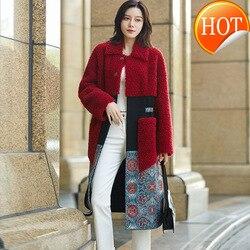 Fur Coat Real Women Clothes 2020 Sheep Shearing Korean Spliced Vintage Print 100% Wool Jacket Women Manteau Femme 9629 YY1928