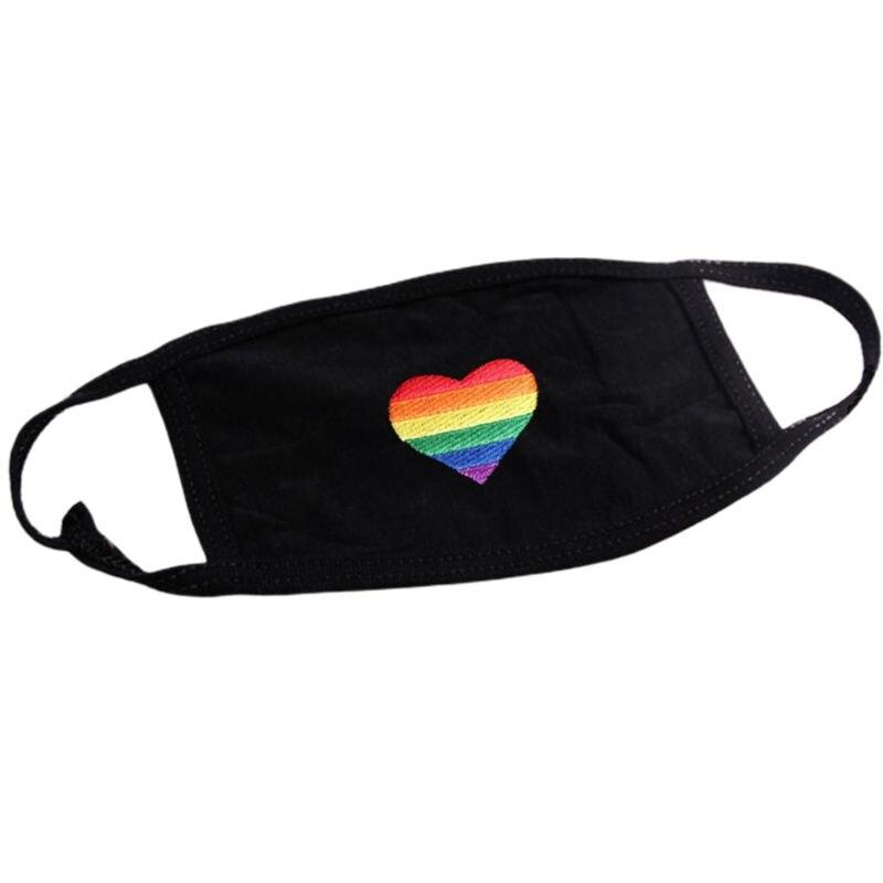 Unisex Dustproof Rainbow Stripes Heart Emrboidered Gay Pride Earloop Mouth Mask