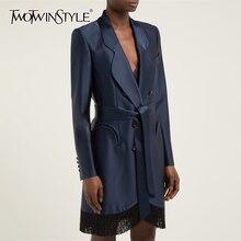 TWOTWINSTYLE 2019 パッチワークタッセルドレス女性のためのノッチ長袖ハイウエストレースアップドレス女性の秋のファッション新