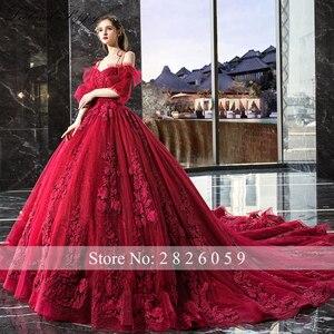 Image 2 - Vestido de Noiva kadın balo kırmızı düğün elbisesi 2020 kapalı omuz puf kollu katedrali tren dantel aplikler gelin elbise