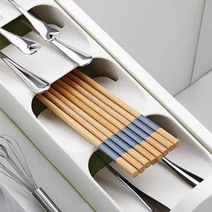 New Storage Tray Kitchen Drawer Organizer Kitchen Spoon Forks Cutlery Storage Separation Container Plastic Knife Block Holder
