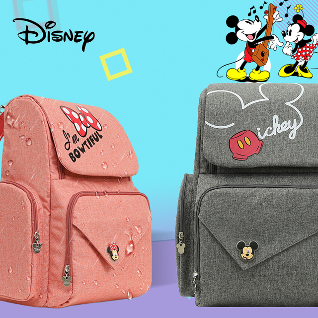 Disney Pink Minnie Travel Diaper Baby Bag for Mom Maternidade Waterproof Stroller Bag USB Baby Bottle Mummy Backpack Nappy Bag Bags Kids