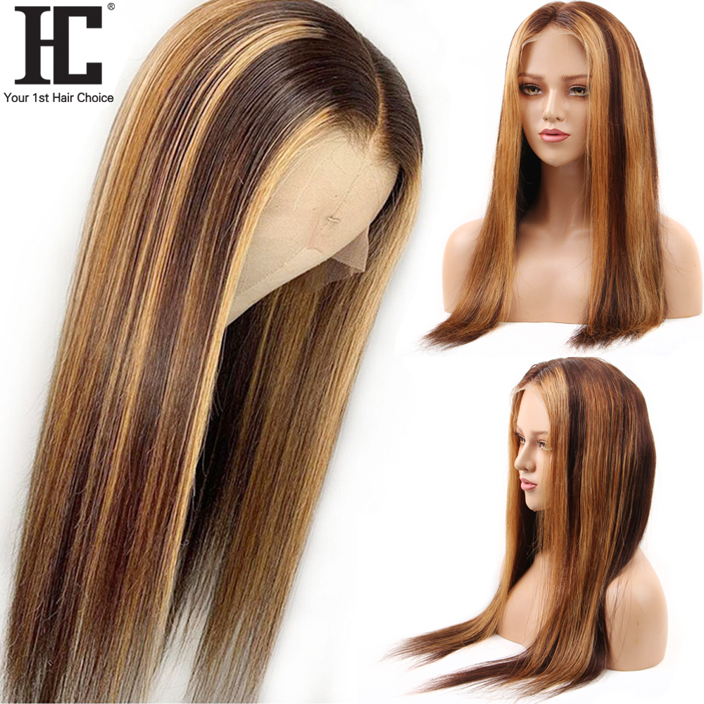 Ombre 4/27 Straight Lace Front Human Hair Wigs Pre Plucked 13x4 Lace Front Wig For Women 150% Honey Blonde Wig Bleached Knots HC