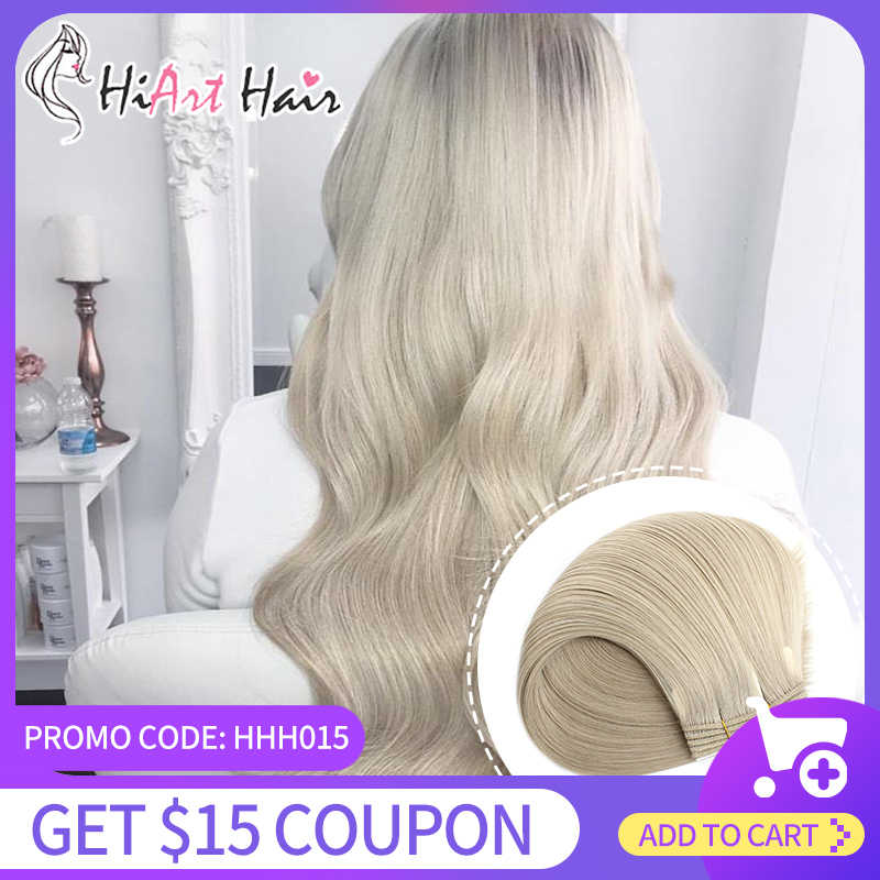HiArt 100g Human Remy Weft Hair Extension Salon Super Double Drawn Hair Weft 2020 Hairstyle Seamless Full Head Bundle Hair