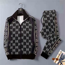 New Men 3D Plaid Sports Gentlemen Sets Jacket Men Set Tracksuit StreetFashi Trend Fashion Stand-up Collar Zipper Sportswear Suit