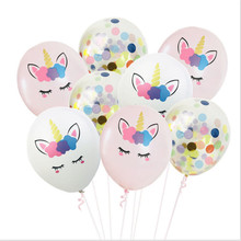 Amazon Hot Sale Unicorn Rose Gold Sequins Confetti Balloon Set Theme Birthday Party Decorations