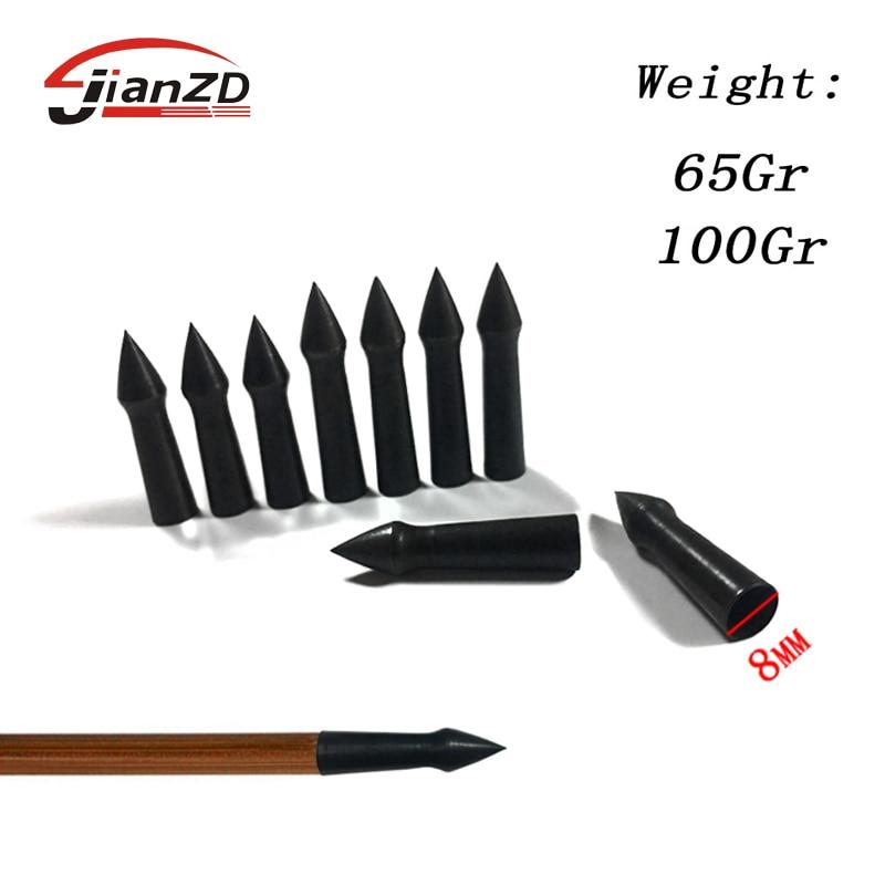 6/12pcs Archery Arrowhead Steel 100/65gr Arrow Point Target Tips Broadheads Fit OD 7mm Arrow Shaft Hunting Shooting Accessories