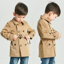 Tench Coat Boy Girl Clothes Windproof Jacket British Double Breasted Windbreaker Turn-down Collar Button Belt Kids Outwear 2021