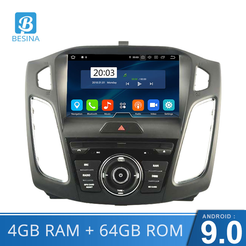 Besina Octa Cores Android 9.0 Car DVD Player For <font><b>Ford</b></font> <font><b>Focus</b></font> 2015 2016 <font><b>2017</b></font> WIFI GPS <font><b>Navigation</b></font> Radio Steering Wheel multimedia image