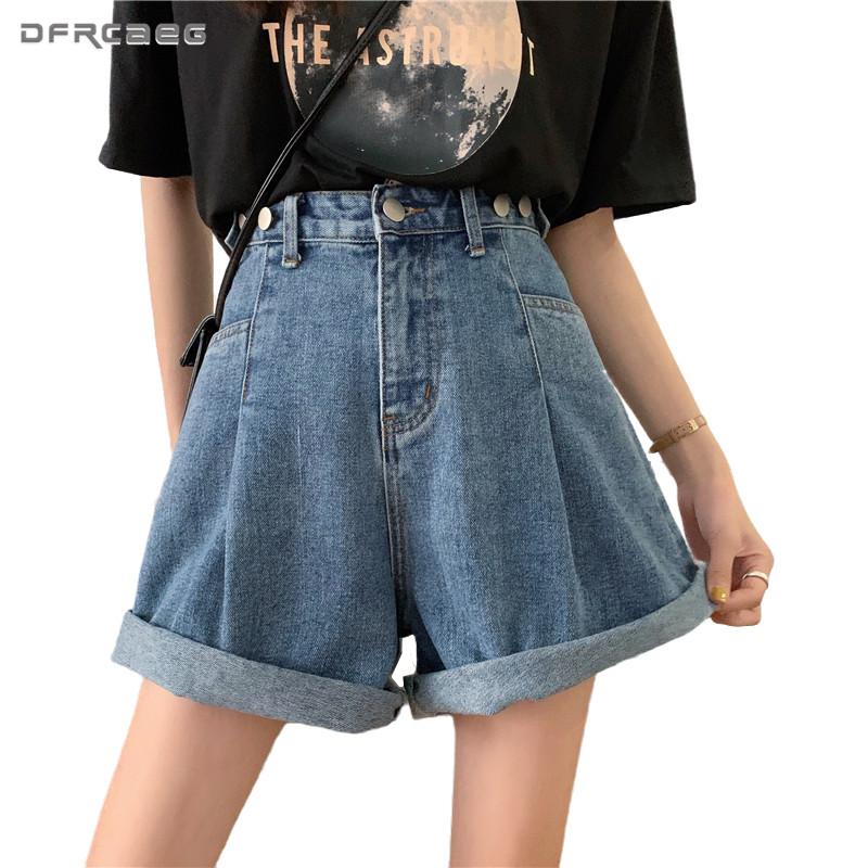 Adjust Waist Summer Women Denim Shorts Vintage 2020 Casual Hight Waist Crimping Loose Wide Leg Ladies Jeans Shorts Femme