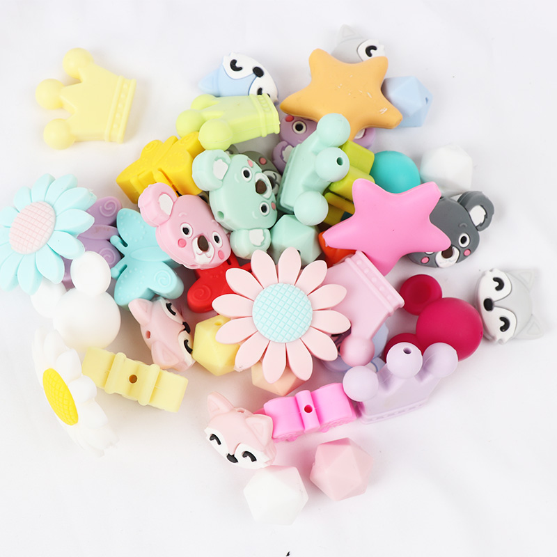 TYRY 10 PC Silicon Teething Baby BPA FREE DIY Cartoon Pacifier Chain Beads Pearl For Baby Teether Toys Toddler Chewable Pendent