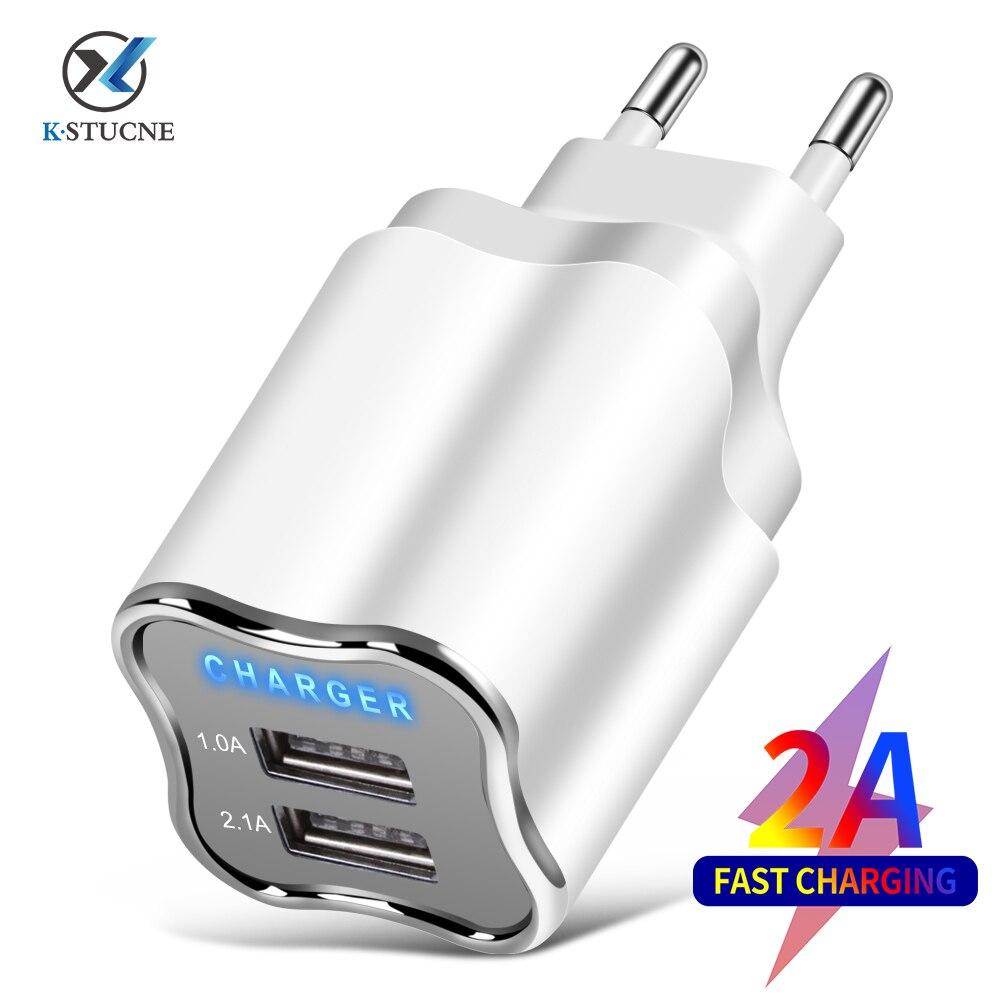 KSTUCNE 2 USB порт зарядное устройство 5V 2A настенный адаптер мобильный телефон зарядное устройство для Samsung S20 Xiaomi Tablet EU/US разъем USB зарядка для тел...