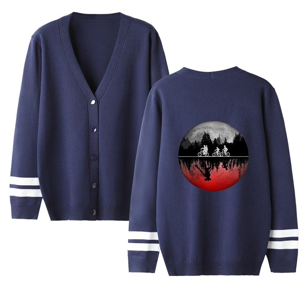 Stranger Things V-neck Cardigan Sweater Men/women Hot Fashion Navyblue Casual Harajuku Sweater Stranger Things Popular Coats Top