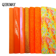 Hair-Bow Decoration Materials Fabric Faux-Leather-Accessories QIBU Glitter DIY Orange