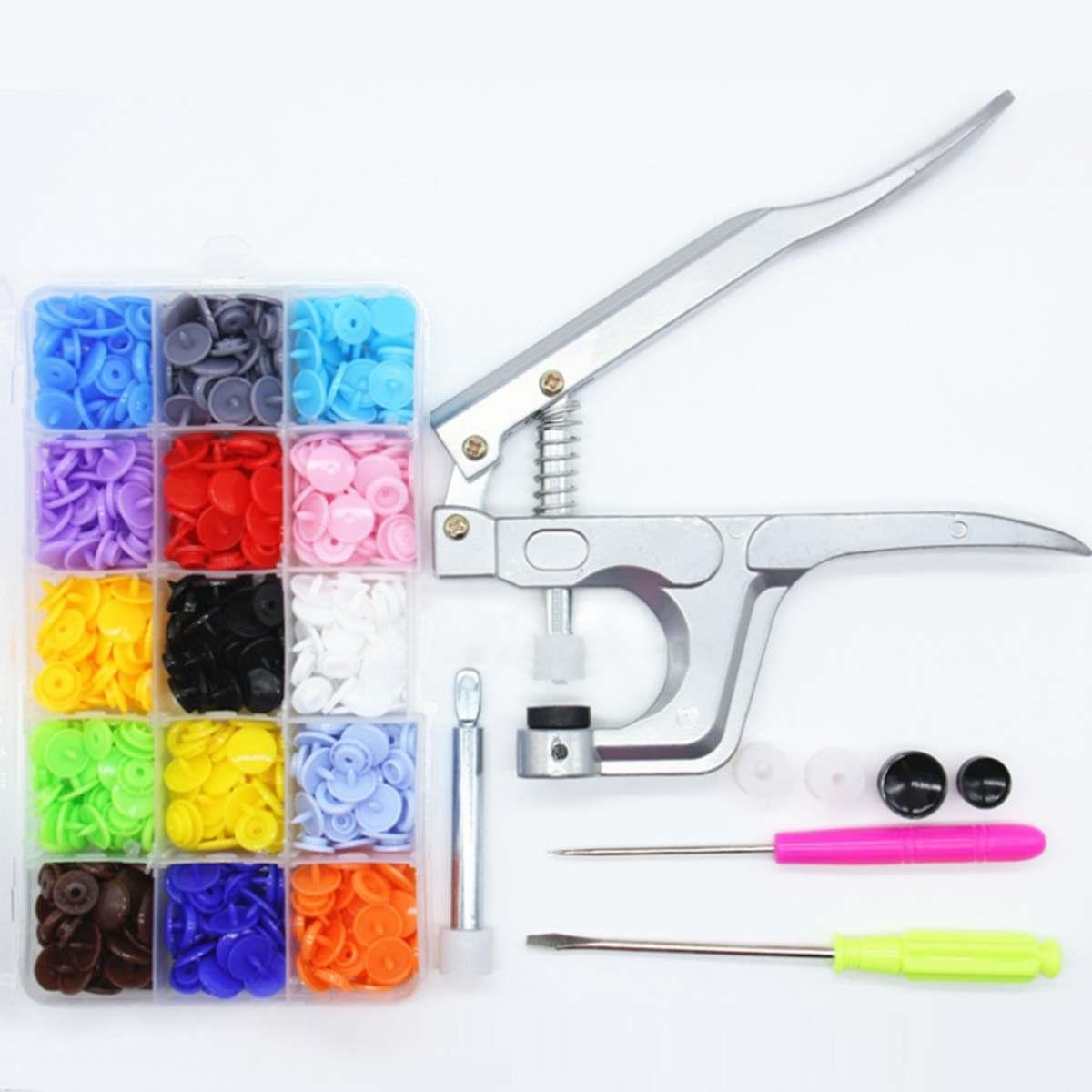150 conjunto de 15 cores diy roupas t5 plástico prendedores snap resina imprensa parafuso prisioneiro pano ferramenta mão alicate pressão kit com caixa