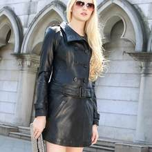 Genuine Leather Jacket Women Real Sheepskin Black Vintage Double Breasted Long Coat Trench Female Slim Fit Plus Size XXXL(China)