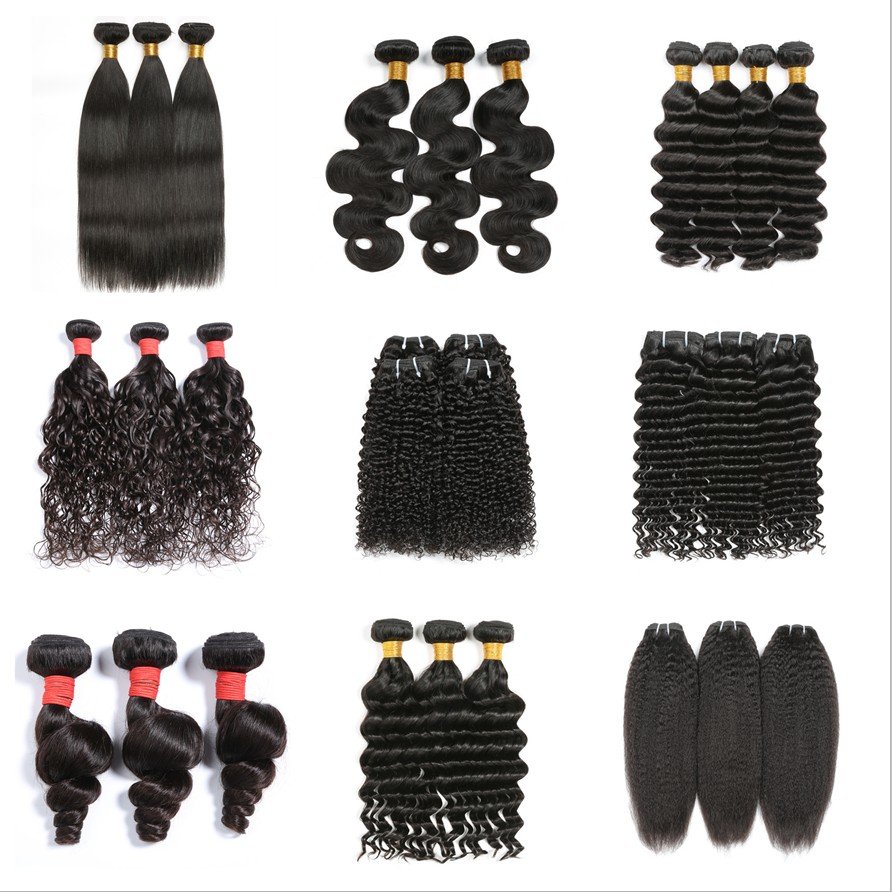 Hot Wave Human Hair Weave Bundles Extension for Women Natural Black Straight Body Water Deep Loose Funmi Bouncy Kinky Curly