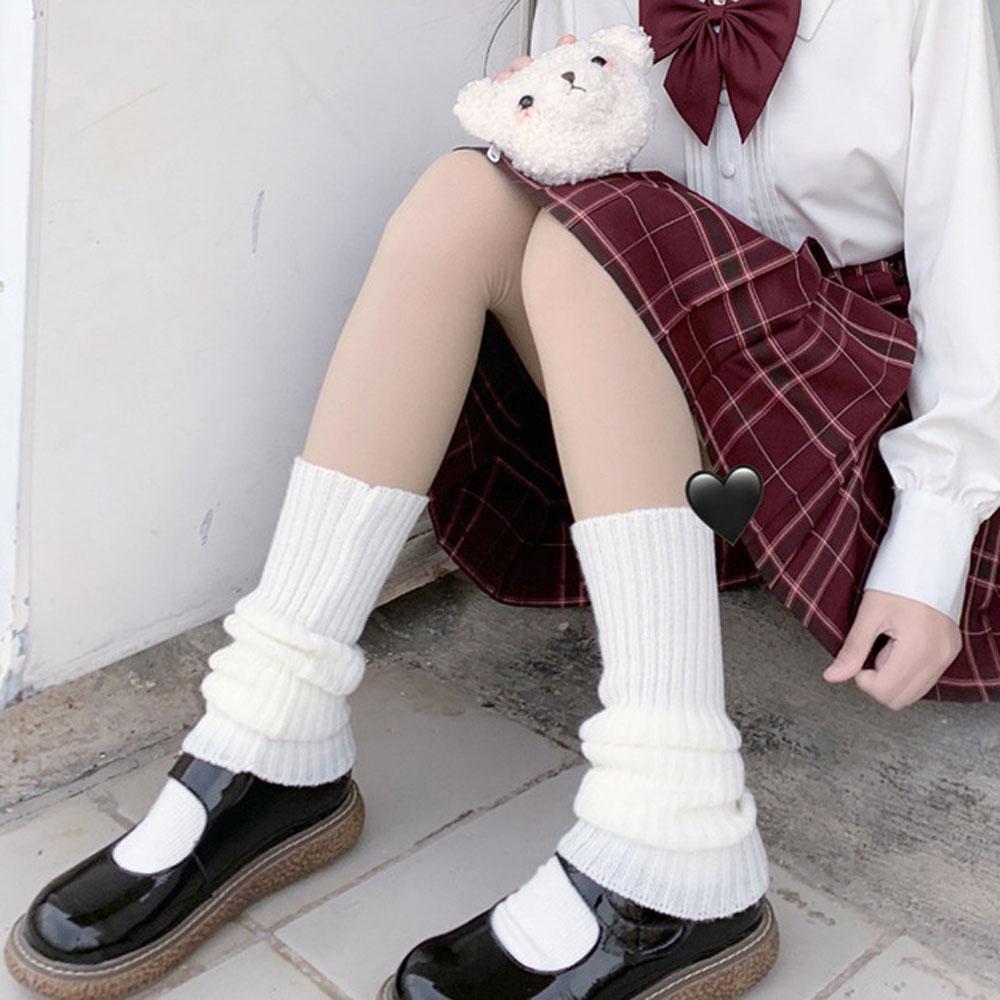 Japanese Lolita Sweet Girl Leg Warmers Wool Ball Knitted Foot Cover Women Autumn Winter Leg Warmer Socks Heap Heap Socks
