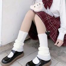 Lolita japonês doce menina perna aquecedores bola de lã de malha pé capa feminina outono inverno perna mais quente meias heap heap meias