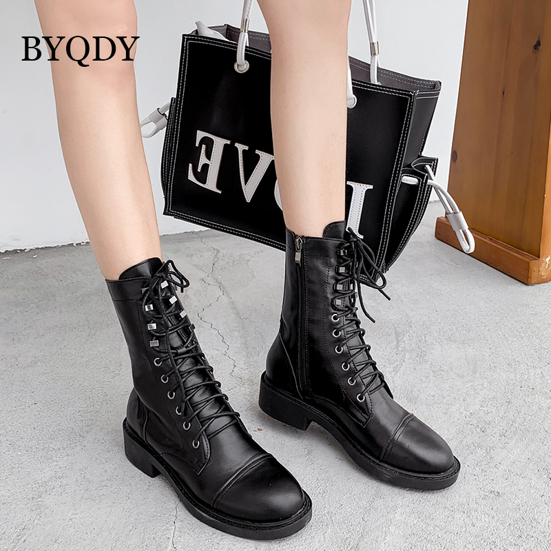 BYQDY Autumn Winter Ankle Boots For Women High Heels Fashion Pointed Toe Ladies Shoes Lace-Up Casual  Mother